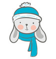 a cute cartoon hare wearing its blue winter vector image vector image