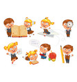 back to school funny cartoon character vector image vector image