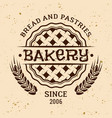 bakery vintage emblem with pie and wheat vector image vector image