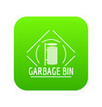 bin icon green vector image vector image