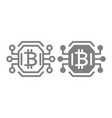 bitcoin chip line and glyph icon video card or vector image vector image