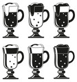 black and white fancy beer glass silhouette set vector image