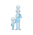 blue silhouette shading caricature bearded father vector image vector image