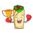 boxing winner burrito mascot cartoon style vector image vector image
