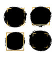 brush strokes set gold text box isolated white vector image vector image