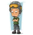 Cartoon blond soldier with cool helmet vector image vector image