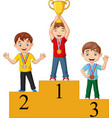 children with medals standing on podium vector image