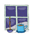 christmas mug and candle near the night window vector image vector image