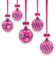 Christmas Pink Glassy Balls with Bow Ribbon vector image vector image