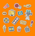 cinema doodle icons stickers set vector image vector image