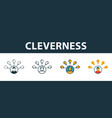 cleverness icon set four elements in diferent vector image vector image