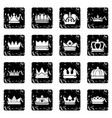 crown gold icons set grunge vector image
