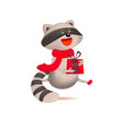 cute raccoon with gift and christmas greeting vector image