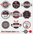 Darts Champion Labels and Icons vector image vector image