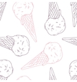 Doodle ice cream in a waffle cone Outline vector image vector image