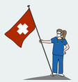 female doctor standing with heath flag cartoon vector image vector image