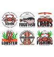 fishing fish and seafood fishery fisher club vector image vector image