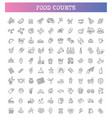 food courts icons set icons vector image