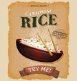 fried rice with asian chopsticks on vintage poster vector image vector image