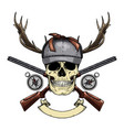 hand drawn hunter skull vector image vector image