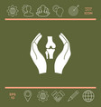 hands holding knee-joint - protection icon vector image