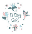 happy birthday b-day girl with crown lettering vector image