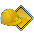 hardhat and road sign vector image vector image