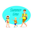 holidaymakers flat travel postcard with lettering vector image vector image