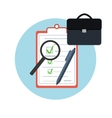 Icon briefcase with c pen and magnifying glass vector image