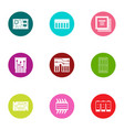 integrated circuit icons set flat style vector image vector image