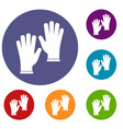 medical gloves icons set vector image vector image