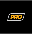 minimalist pro logo on black background vector image vector image
