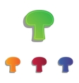 Mushroom simple sign Colorfull applique icons set vector image