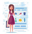 online shopping beautiful girl character design vector image vector image
