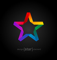 Origami rainbow Star from paper on black vector image vector image
