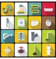 Plumbing icons set flat style vector image vector image