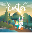 rabbit drives a motorcycle to deliver easter eggs vector image