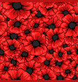 red poppy flower seamless pattern for fabric vector image