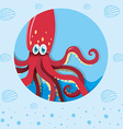 Red squid underwater vector image vector image
