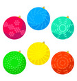 six multi colored christmas balls vector image