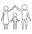 sketch silhouette of pictogram parents holding vector image vector image