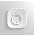 Stopwatch icon - white app button vector image vector image