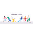 tug war people teams pull rope office vector image vector image