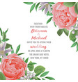 wedding invitation with flowers and greenery vector image