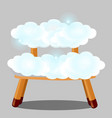 wooden stool upholstered in clouds isolated on vector image