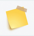 yellow note paper with shadow sticker note for vector image