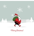 Santa Claus in winter forest Christmas card vector image