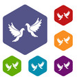 wedding doves icons set vector image