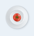 3d realistic juicy tomato in a white vector image