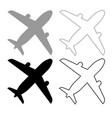 airplane icon outline set grey black color vector image
